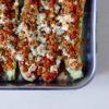 Gefüllte Zucchini mit Sojaschnetzeln, Tomaten, Paprika und Feta