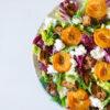 Salat mit gerösteten Aprikosen, körnigem Frischkäse und Zitronen-Vinaigrette