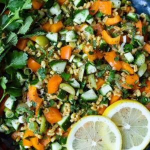 Dinkelsalat mit grünen Oliven, Gurke, Paprika, Petersilie, Minze und Safran