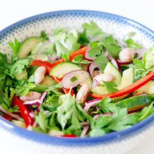 Salat mit Borlotti Bohnen, Gurke, Paprika und Petersilie